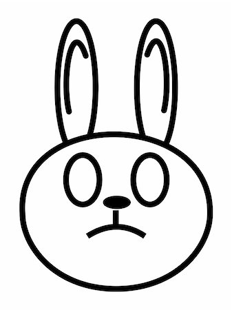 sgame - outline cartoon head of rabbit isolated on white background Stock Photo - Budget Royalty-Free & Subscription, Code: 400-04543134