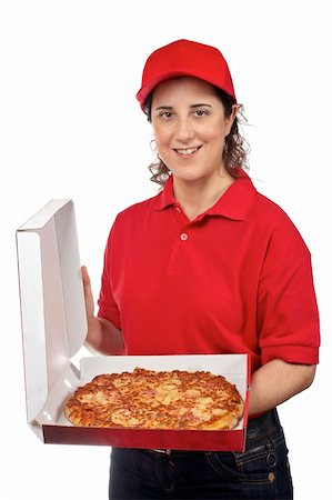 fat italian woman - A pizza delivery woman holding a hot pizza. Isolated on white Stock Photo - Budget Royalty-Free & Subscription, Code: 400-04543266