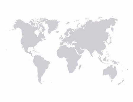 Vector world map isolated over a white background Stock Photo - Budget Royalty-Free & Subscription, Code: 400-04543277