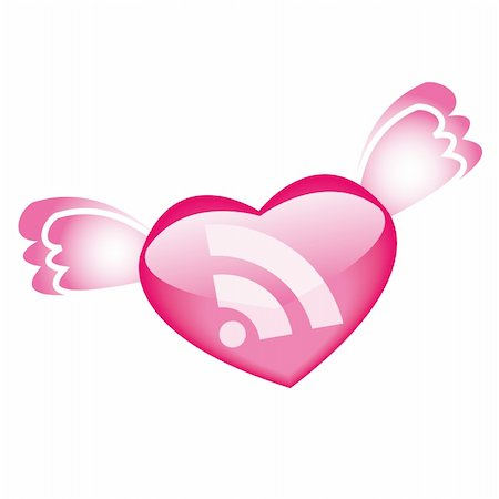 flying hearts clip art - RSS icon with wings for St.Valentine day Stock Photo - Budget Royalty-Free & Subscription, Code: 400-04555428