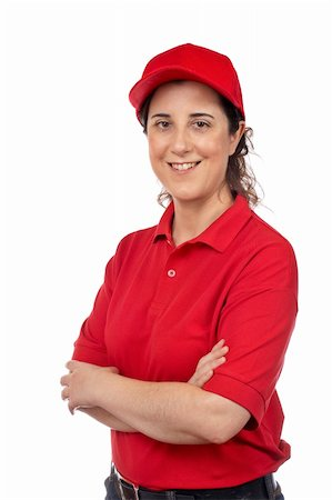 fat italian woman - A pizza delivery woman isolated on white Stock Photo - Budget Royalty-Free & Subscription, Code: 400-04556771