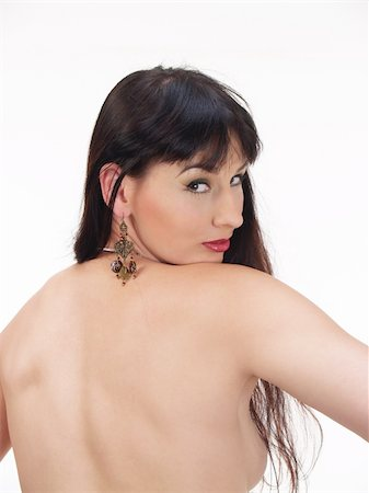 Topless woman from the back with black hair Stock Photo - Budget Royalty-Free & Subscription, Code: 400-04558181
