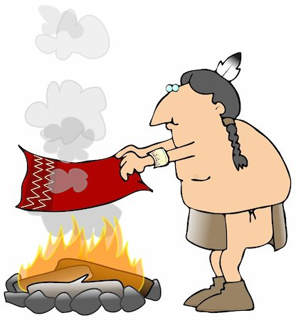 This illustration depicts an American Indian sending smoke signals from a campfire. Stock Photo - Budget Royalty-Free & Subscription, Code: 400-04558443