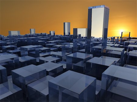silver box - Abstract 3d illustration of background with glass buildings over sunset Stock Photo - Budget Royalty-Free & Subscription, Code: 400-04550012
