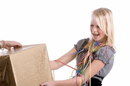 Young teenage girl getting a big box for a present Stock Photo - Budget Royalty-Free & Subscription, Code: 400-04550220