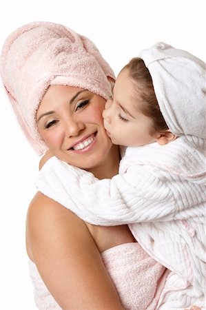 daughter kissing mother - Smiling mother and daughter at bathtime Stock Photo - Budget Royalty-Free & Subscription, Code: 400-04552937