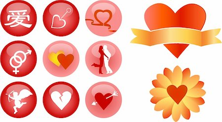 love and romance vector icons Stock Photo - Budget Royalty-Free & Subscription, Code: 400-04553806