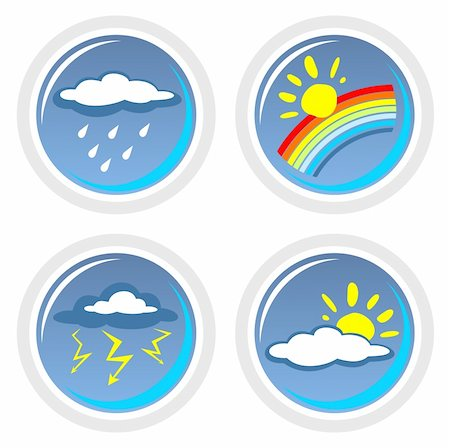 Four ornate weather symbols isolated on a white background. Stock Photo - Budget Royalty-Free & Subscription, Code: 400-04566237
