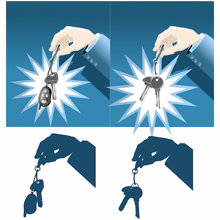 silhouette hanging keys - Businessman hand holding car and house keys Stock Photo - Budget Royalty-Free & Subscription, Code: 400-04561575