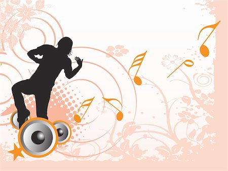 simsearch:400-04676325,k - dancing male on musical and floral elements, banner Stock Photo - Budget Royalty-Free & Subscription, Code: 400-04574104