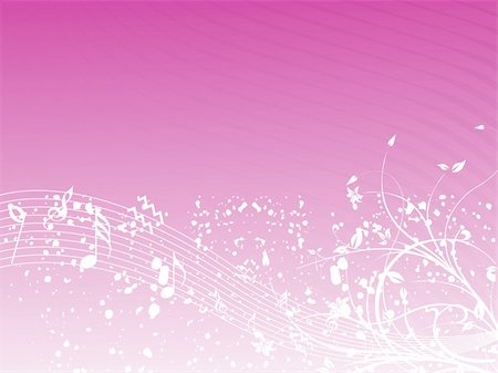 simsearch:400-04676325,k - music background with different notes an floral on the pink, banner Stock Photo - Budget Royalty-Free & Subscription, Code: 400-04574110