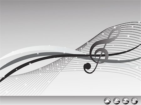 swirly - shiny musical waves on gray background, banner Stock Photo - Budget Royalty-Free & Subscription, Code: 400-04574203