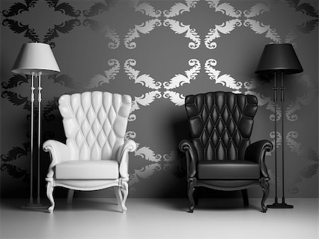 white & black vintage armchairs over baroque style wallpaper (3D) Stock Photo - Budget Royalty-Free & Subscription, Code: 400-04584669