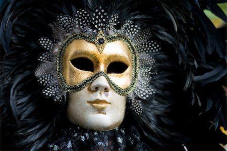 Carnival in venice with model dressed in various costumes and masks - black man Stock Photo - Budget Royalty-Free & Subscription, Code: 400-04588792