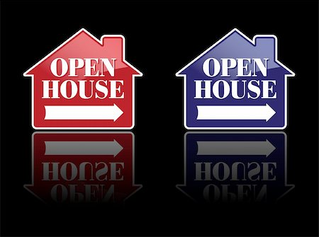 Red and Blue Open House Signs or Buttons. Stock Photo - Budget Royalty-Free & Subscription, Code: 400-04588917