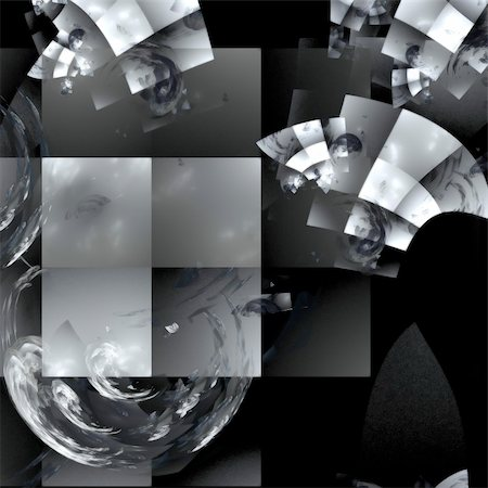 Abstract background. Black-and-white palette. Raster fractal graphics. Stock Photo - Budget Royalty-Free & Subscription, Code: 400-04589541