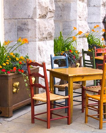 A colorful outdoor cafe in Montreal's old town, Canada Stock Photo - Budget Royalty-Free & Subscription, Code: 400-04589582
