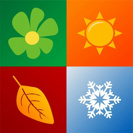four seasons background fully editable vector illustration Stock Photo - Budget Royalty-Free & Subscription, Code: 400-04580388