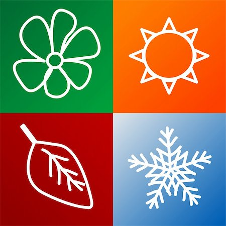 four seasons background fully editable vector illustration Stock Photo - Budget Royalty-Free & Subscription, Code: 400-04580389