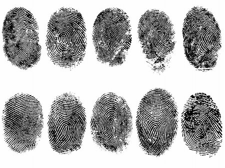 pokerman (artist) - 10 Black and White Vector Fingerprints - Very accurately scanned and traced ( Vector is transparent so it can be overlaid on other images, vectors etc.) Stock Photo - Budget Royalty-Free & Subscription, Code: 400-04580804