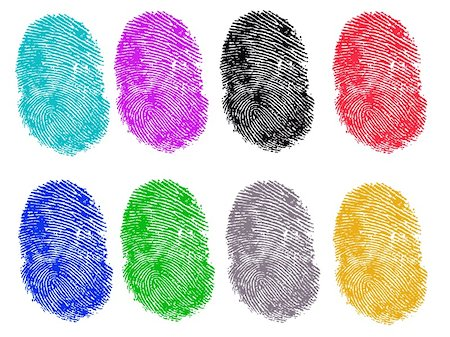 pokerman (artist) - 8 Colored Vector Fingerprints - Very accurately scanned and traced ( Vector is transparent so it can be overlaid on other images, vectors etc.) Stock Photo - Budget Royalty-Free & Subscription, Code: 400-04580809
