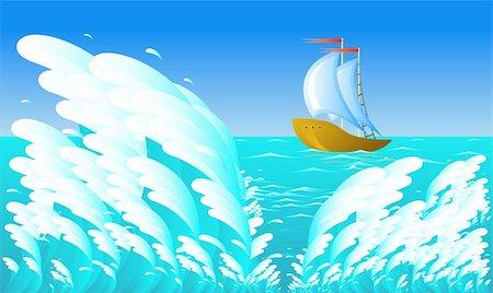 sailing boat storm - Sailing ship, wave, eps 8 format Stock Photo - Budget Royalty-Free & Subscription, Code: 400-04583686