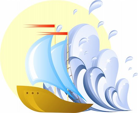 sailing boat storm - Ship and wave, design element, eps 8 format Stock Photo - Budget Royalty-Free & Subscription, Code: 400-04583691