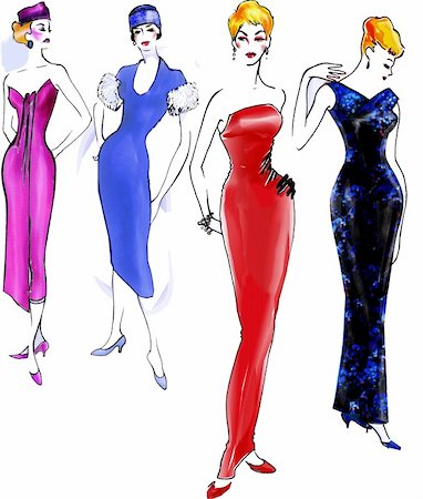 A useful hand-drawn inspirated to 40s-50s glamour. Stock Photo - Budget Royalty-Free & Subscription, Code: 400-04594270