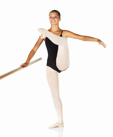 Young caucasian ballerina girl on white background and reflective white floor showing various ballet steps and positions. Grand Battement en Cloche Devant. Not Isolated. Stock Photo - Budget Royalty-Free & Subscription, Code: 400-04595105