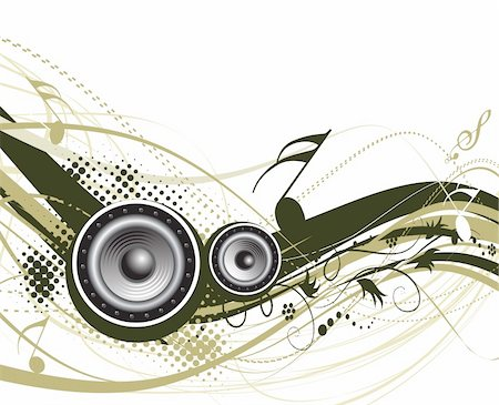 simsearch:400-04676325,k - Music notes with halftone wave lien background Stock Photo - Budget Royalty-Free & Subscription, Code: 400-04596043