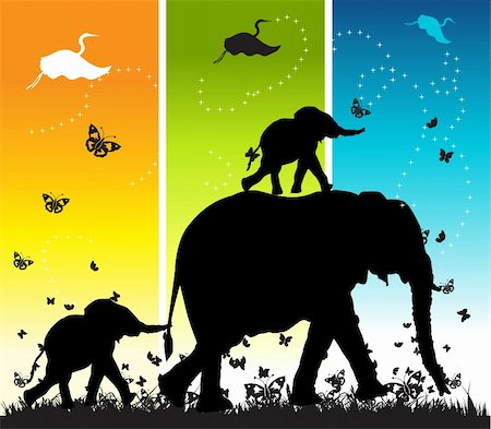Family of elephants on nature walk, vector illustration Stock Photo - Budget Royalty-Free & Subscription, Code: 400-04597013