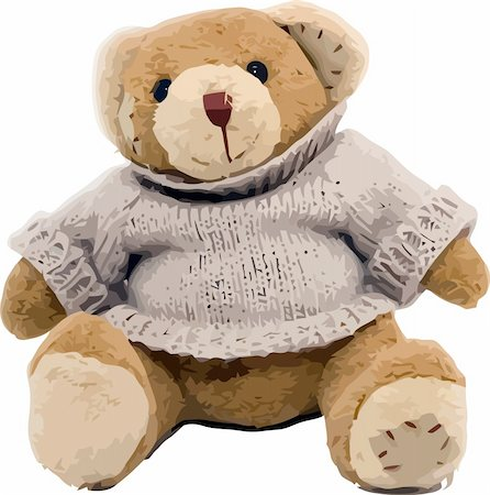 simsearch:400-04598294,k - Vector teddy bear sitting on the white background Stock Photo - Budget Royalty-Free & Subscription, Code: 400-04598294