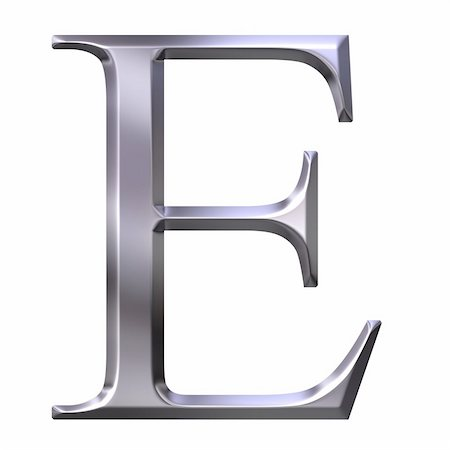 fancy letters - 3d silver Greek letter Epsilon isolated in white Stock Photo - Budget Royalty-Free & Subscription, Code: 400-04599082
