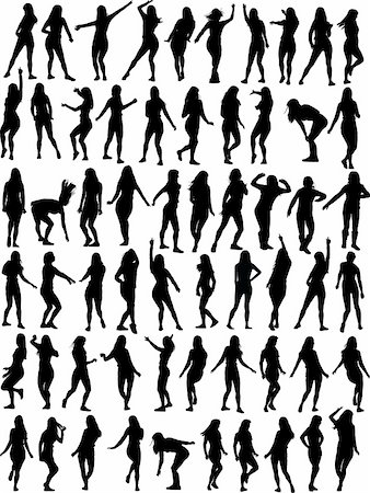 simsearch:400-04222950,k - Big collection of Dancing woman. Sixty vector silhouettes Stock Photo - Budget Royalty-Free & Subscription, Code: 400-04590794