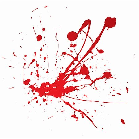 Blood spray splat isolated over a white background Stock Photo - Budget Royalty-Free & Subscription, Code: 400-04590847