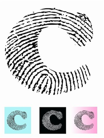 pokerman (artist) - Fingerprint Alphabet Letter C (Highly detailed Letter - transparent so can be overlaid onto other graphics) Stock Photo - Budget Royalty-Free & Subscription, Code: 400-04590878