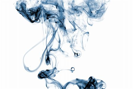 Blue colored smoke curves on white background Stock Photo - Budget Royalty-Free & Subscription, Code: 400-04591002