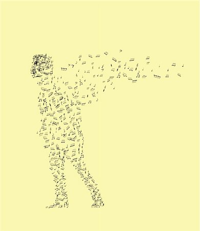man from music notes on an yellow background Stock Photo - Budget Royalty-Free & Subscription, Code: 400-04592425