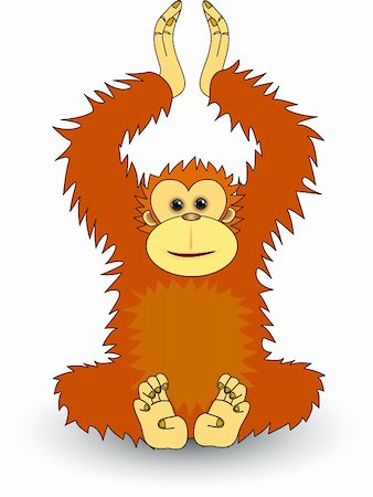 smiling chimpanzee - Orangutan illustration Stock Photo - Budget Royalty-Free & Subscription, Code: 400-04592980