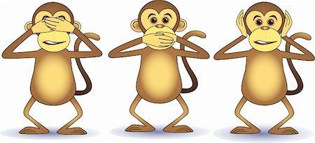 smiling chimpanzee - Three wishes monkey Stock Photo - Budget Royalty-Free & Subscription, Code: 400-04592981