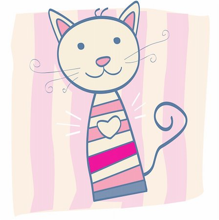 Stripped small cute baby kitten. Vector Illustration. Stock Photo - Budget Royalty-Free & Subscription, Code: 400-04604625