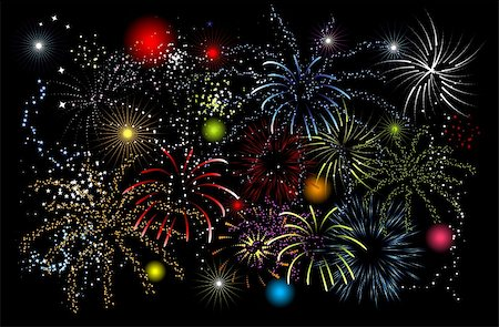 fireworks vector art - Fireworks, holiday night Stock Photo - Budget Royalty-Free & Subscription, Code: 400-04606371