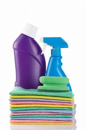 Two plastic detergent bottles and sponges reflected on white background Stock Photo - Budget Royalty-Free & Subscription, Code: 400-04606798