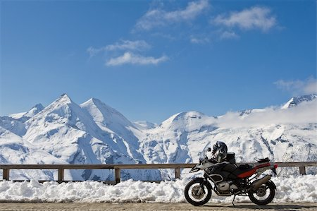 Motorbike in Grossglockner high alpine road, National Park Hohe Tauern, Austria Stock Photo - Budget Royalty-Free & Subscription, Code: 400-04607046