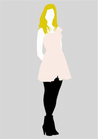 simsearch:400-04096935,k - Vector drawing girl in pink dress, silhouette against a white background. Saved in eps format for illustrator 8. Stock Photo - Budget Royalty-Free & Subscription, Code: 400-04607385