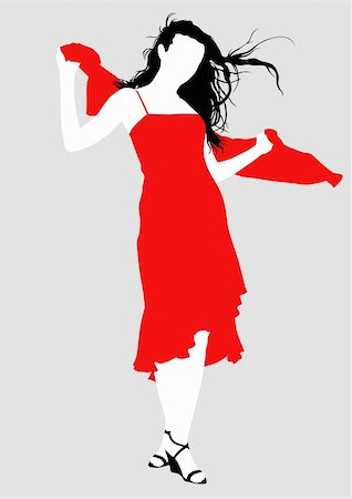 simsearch:400-04096935,k - Vector drawing girl in red dress, silhouette against a white background. Saved in eps format for illustrator 8. Stock Photo - Budget Royalty-Free & Subscription, Code: 400-04607386