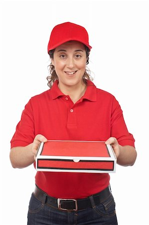 fat italian woman - A pizza delivery woman holding a hot pizza. Isolated on white Stock Photo - Budget Royalty-Free & Subscription, Code: 400-04607505