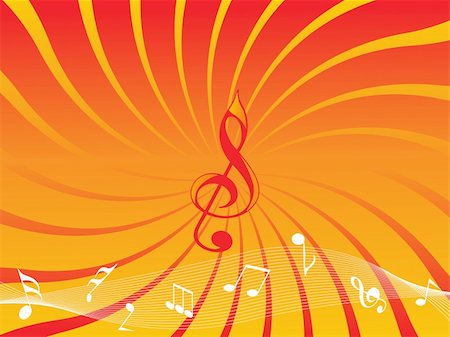 orange background with musical notes and wave Stock Photo - Budget Royalty-Free & Subscription, Code: 400-04608248