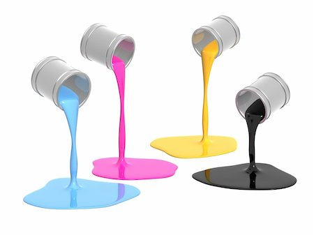 pouring paint art - Conceptual image - a palette CMYK. Objects over white Stock Photo - Budget Royalty-Free & Subscription, Code: 400-04609531