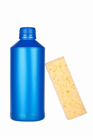 Plastic detergent bottle and sponge reflected on white background Stock Photo - Budget Royalty-Free & Subscription, Code: 400-04615992